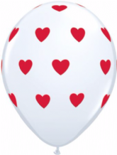 Big Hearts Balloons (White & Red Ink) - 11 Inch Balloons 6pcs
